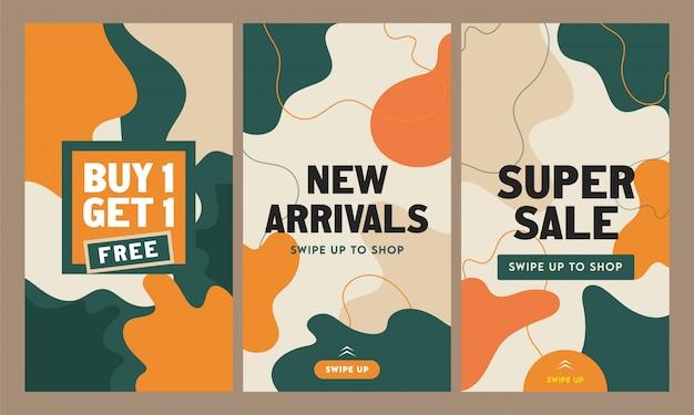 Abstracte instagram verhalen sjabloon of flyer set voor nieuwkomers, super sale.