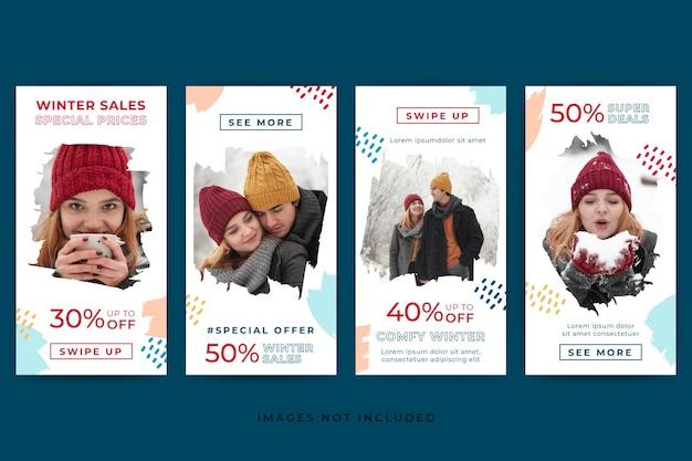 Abstracte instagram verhalen verkoopsjabloon met winterthema