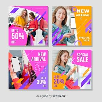 Abstracte instagram verkoop banner collectie