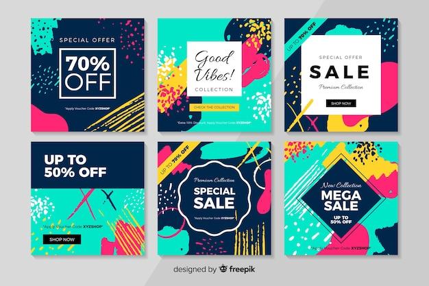 Abstracte instagram verkoop post collectie