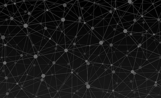 Abstracte internetverbinding en technologie grafisch webdesign behang. geometrische digitale veelhoekige plexus met de structuur van molecuuldeeltjes. futuristisch zwart driehoeksraster. vector gegevens illustratie