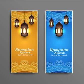 Abstracte islamitische ramadan kareem-banners instellen