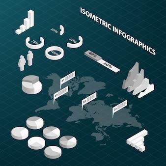 Abstracte isometrische bedrijfsinfographics ontwerp elementen grafieken