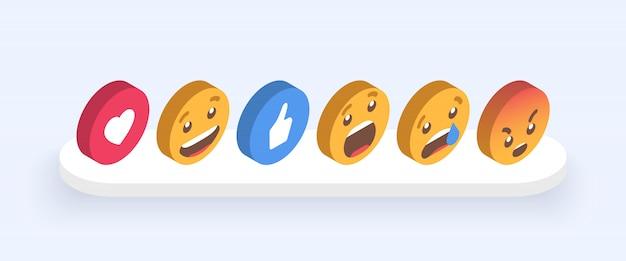 Abstracte isometrische set van emoticons