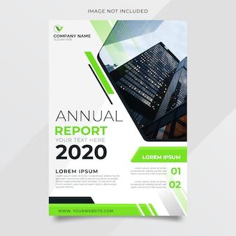 Abstracte jaarverslag ontwerpsjabloon met groene vorm