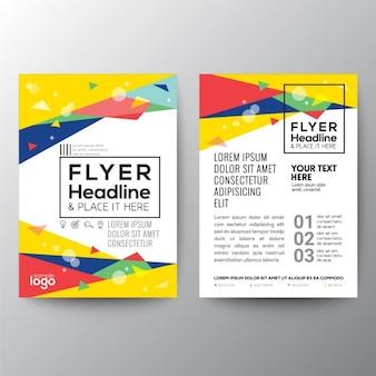 Abstracte jaren '80 stijl driehoek vorm poster brochure flyer ontwerp layout template