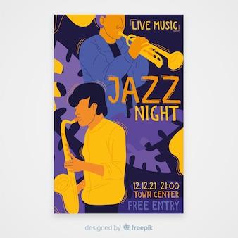 Abstracte jazz muziek poster sjabloon