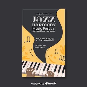 Abstracte jazz-poster in handgetekende stijl