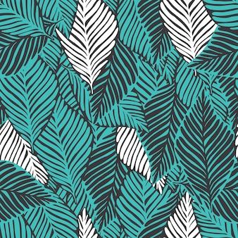 Abstracte jungle naadloze patroon. exotische plant. tropische print, palmbladeren vector florale achtergrond.