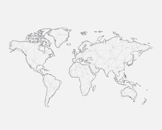 Abstracte kaart van de wereld met verbonden driehoekige vormen