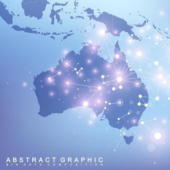 Abstracte kaart van de wereldwijde netwerkverbinding van het land van australië.
