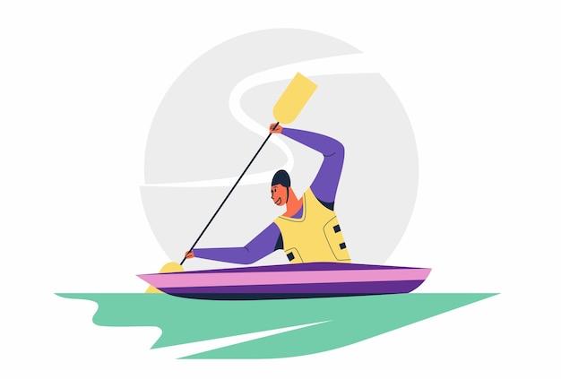 Abstracte kanovaarder paddler man sprint kano sportwedstrijd race in olympische of aziatische spelen