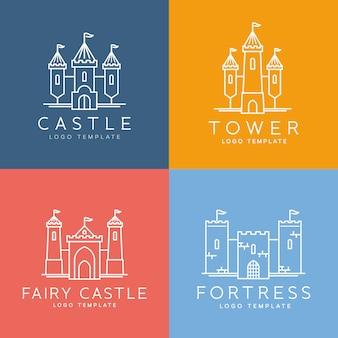 Abstracte kasteel lijnstijl logo sjabloon set