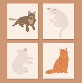 Abstracte katten set, boho schattig dier geïsoleerd, schattige kat om af te drukken, minimalistische grafische elementen, illustratie