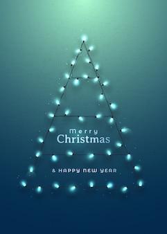 Abstracte kerstboom gemaakt van garland lichten.