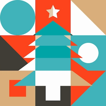 Abstracte kerstboom gemaakt van vormen