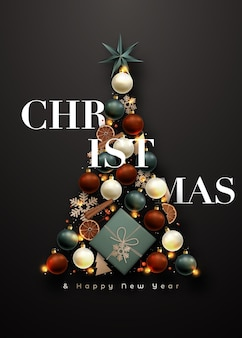 Abstracte kerstboom op donkere achtergrond