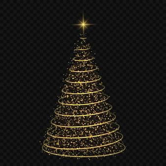 Abstracte kerstboom op transparant symbool van gelukkig nieuwjaar