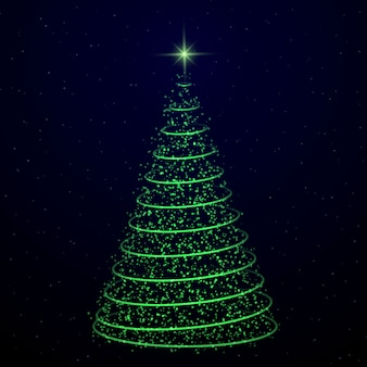 Abstracte kerstboom op transparante achtergrond. symbool van gelukkig nieuwjaar