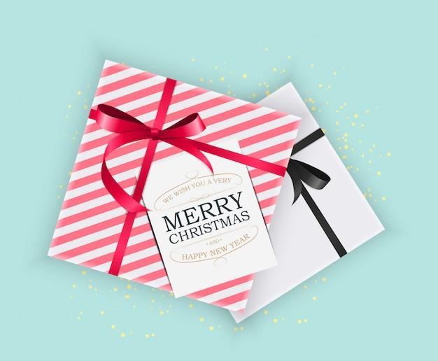 Abstracte kerstmis en nieuwjaar geschenkdoos op blauw.