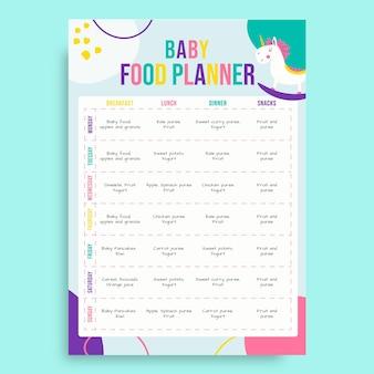 Abstracte kinderlijke babyvoedingplanner
