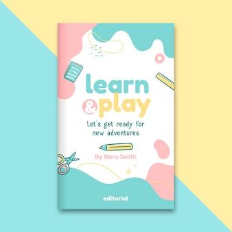 Abstracte kinderlijke onderwijsboekomslag