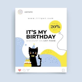 Abstracte kinderlijke verjaardag instagram-post