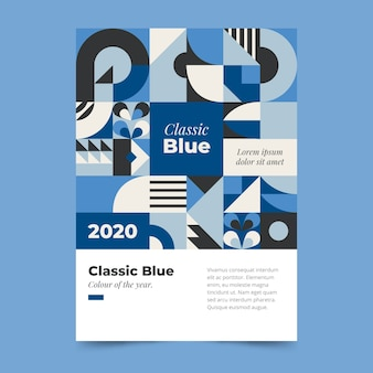 Abstracte klassieke blauwe poster sjabloon thema