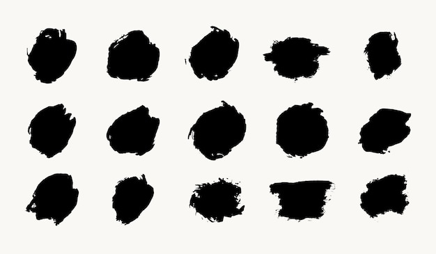 Abstracte kleine cirkel inkt penseelstreek grunge textuur vector set