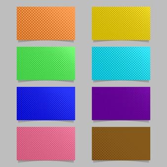 Abstracte kleur halftoon punt patroon visitekaartje achtergrond sjabloon ontwerp set - vector illustratie met gekleurde cirkels