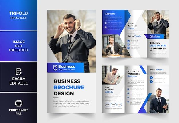 Abstracte kleur zakelijke driebladige brochure ontwerpsjabloon