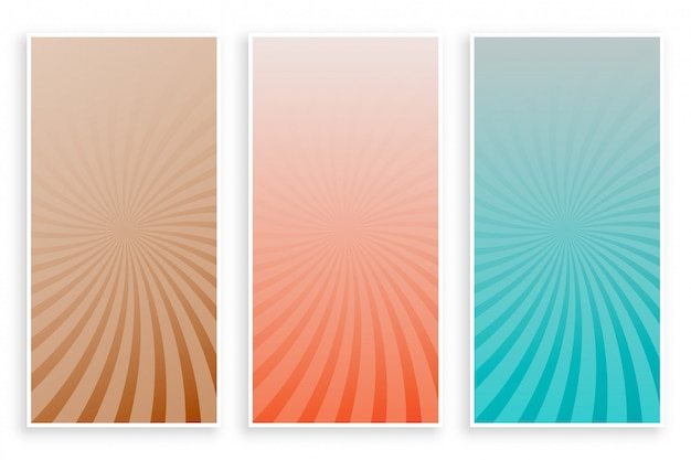 Abstracte kleuren stralen sunburst banner set