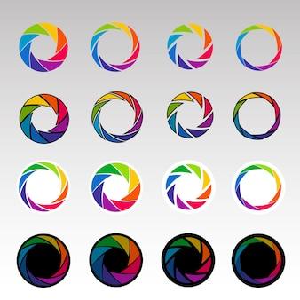 Abstracte kleurenvormen. spiraalvorm, openingsvormen. luiken