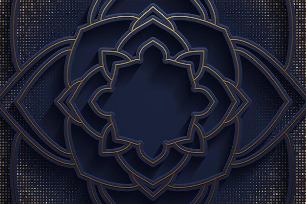 Abstracte kleurovergang blauwe luxe gouden lijn sjabloon premie