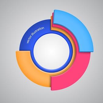 Abstracte kleurrijke 3d regenboog, embleemontwerp. vectorillustratie