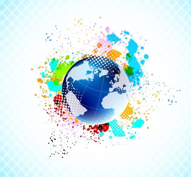 Abstracte kleurrijke achtergrond met blauwe bol en kleurrijke grunge spatten.