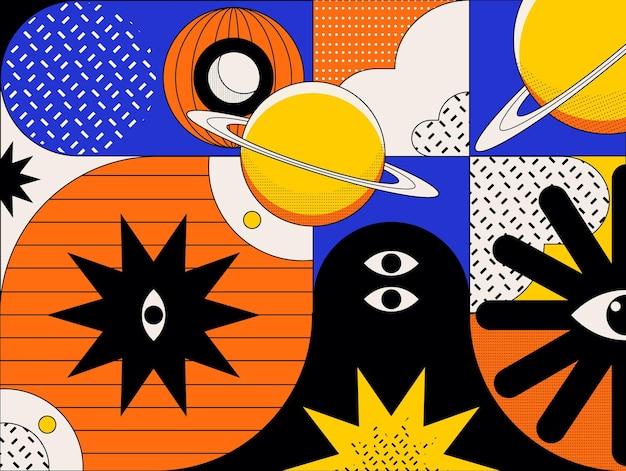 Abstracte kleurrijke achtergrond met verschillende vormen