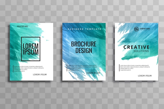 Abstracte kleurrijke aquarel business brochure set