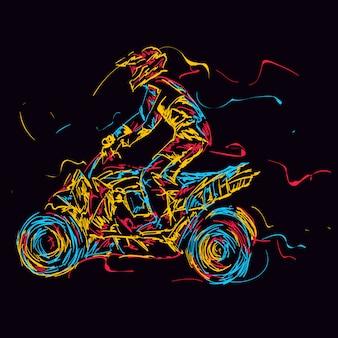Abstracte kleurrijke atv-rijder in de actie