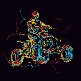 Abstracte kleurrijke atv-rijder