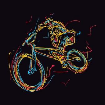 Abstracte kleurrijke bmx-rijder doet trucs in de lucht