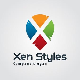 Abstracte kleurrijke brief x logo