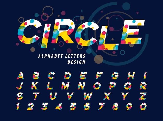 Abstracte kleurrijke cirkels binnen alfabetletters en cijfers