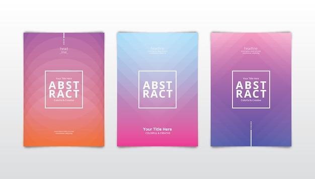 Abstracte kleurrijke covers in verloop