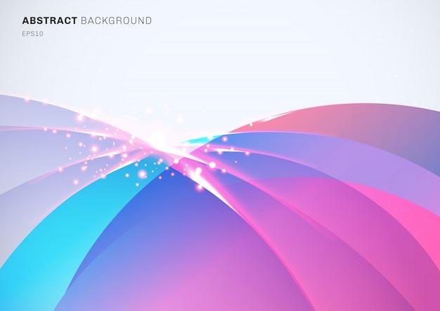 Abstracte kleurrijke gebogen overlappende fonkelende effect achtergrond