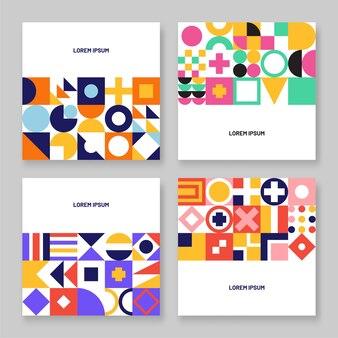 Abstracte kleurrijke geometrische banner of flyer set van bauhaus. Premium Vector