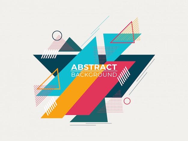 Abstracte kleurrijke geometrische patronen op witte achtergrond.