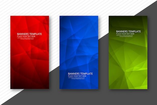 Abstracte kleurrijke geometrische veelhoekbanners geplaatst ontwerpsjabloon