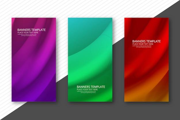 Abstracte kleurrijke golvende banners geplaatst ontwerp