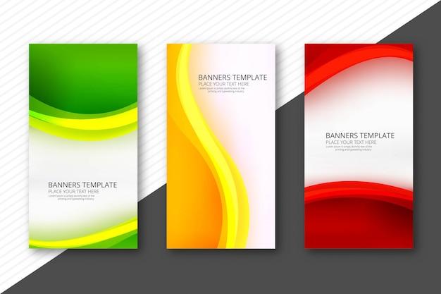 Abstracte kleurrijke golvende banners instellen websjabloon ontwerp